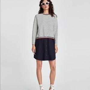 Zara contrast poplin dress Sz XL